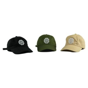 CMB Monogram dad strapback hat tan black khaki