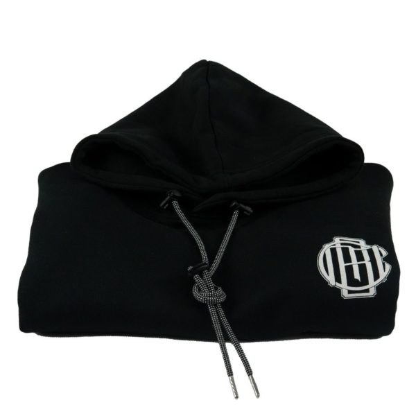 CMB black monogram hoodie front heavy weight drawstrings