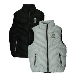 black and grey cmb puffer vest front